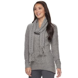 NWT Sonoma Gray Cable knit Sweater/Scarf combo XL